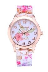 Review Terbaik Tali Silikon Indah Rose Bunga Borcelain Super Desain Geneva Wrist Watch Intl