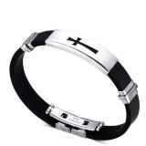 Spesifikasi Silicone Bracelet Bangle Stainless Steel Buckle Id Tag Cross Panjang Yang Dapat Disesuaikan Intl Terbaik