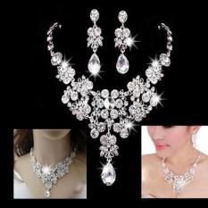 Silver Alloy Berlian Imitasi Anting Crystal Pendant Kalung Bridal Perhiasan Set-Intl