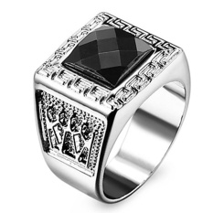 Perak Berlian Cincin Stainless Steel Perhiasan Aksesoris Manusia 925 Cincin Lelaki
