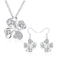 Perhiasan Perak Online Zircon Women Pesta Trendi Anting Kalung Tembaga Set Perhiasan Bridal Rose Emas Plated Tanaman-Intl
