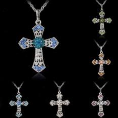 Perhiasan Perak CROSS Crystal Pendant Sweater Jaringan Kalung Wanita Hadiah Kuning-Intl