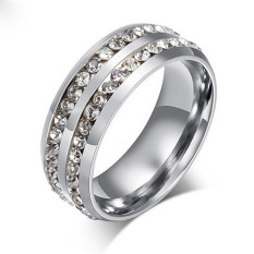 Silver Pria Women Unisex Crystal Stainless Steel Cincin Kawin Jari Cincin