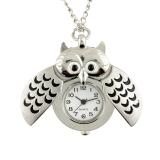 Diskon Silver Plated Owl Bentuk Chic Pocket Watch Liontin Kuarsa Kalung Women Hadiah Branded