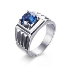 Harga Silver Cincin Cincin Untuk Pria Stainless Steel Cincin Dengan Simulated Cz Batu Perhiasan Male Pernikahan Intl Di Tiongkok
