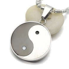 Jual Beli Silver Nada Hitam Stainless Steel Yin Yang Taichi Rantai Liontin Necklacess Sosis 60 Cm L Tiongkok