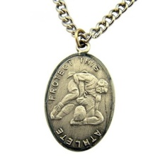 Silver Tone Pelindung Olahraga Saint Sebastian Wrestling Atlet Medali, 1 Inch-Intl