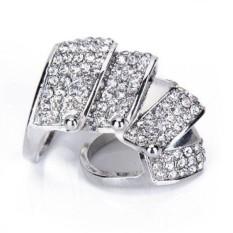 Keperakan Berlian Imitasi Bocah Penuh Baju Zirah Cincin Jari --- UK Ukuran: O 1/2-Internasional