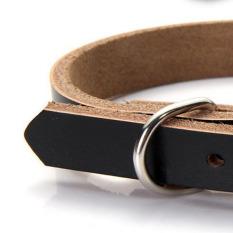 Sederhana Kulit Sapi Hewan Peliharaan Anjing Kucing Anjing Kerah Leher Buckle Adjustable Black XS-