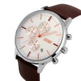 Simplehome Skmei 9103 Business Men S Waterproof Quartz Watch Stopwatch Silver Face Brown Belt Silver Intl Murah
