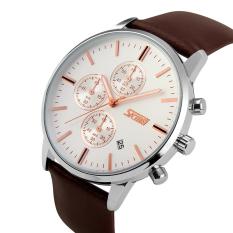 Diskon Simplehome Skmei 9103 Business Men S Waterproof Quartz Watch Stopwatch Silver Face Brown Belt Silver Intl Skmei Tiongkok