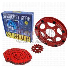 Sinnob Chain Kit Gear Set Rantai Ninja 150 RR Colour Merah