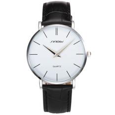 SINOBI 2016 Baru Casual Slim Pria QUARTZ Watch Ultra Tipis Kulit Jam Tangan Klasik Jam Tangan Pria Clock (hitam Putih)
