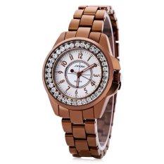 Harga Sinobi 9390 Modis Wanita Keramik Diamond Quartz Watch Round Dial Stainless Steel Strap Yang Murah