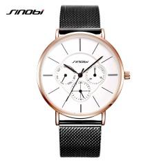 SINOBI 9738 Fashion Wanita Hitam Watches 2018 Tampilan Minggu Ultra Tipis QUARTZ Watch Wanita Gaun Ladies Watch Perhiasan Montre Femme -Intl