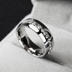 Ukuran 7-11 Buatan Jari Cincin Kristal Berlian Imitasi Pria Wanita Berlapis Perak Pernikahan Cincin Pertunangan Yang Terbuat dari Besi Baja