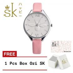 SK Honey Bee - Jam Tangan Wanita - 3D Bee - Strap Leather - Pink Muda FREE_BOX