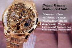 Jual Skeleton Tourbillon Jam Tangan Mekanis Otomatis Pria Klasik Kulit Emas Rose Mechanical Wrist Jam Tangan Reloj Hombre Intl Branded Murah