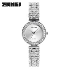 Harga Skimei 1224 Women Diamond Fashion Bracelet Rose Quartz Luxury Watch Silver Intl Asli