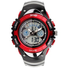 Jual Cepat Skmei 0998 Kids Watches Sports Digital Rubber Waterproof 3Bar Gift Watches Student Stopwatch Red Intl
