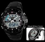 Ulasan Tentang Skmei 1016 Men Sports Watches Digital Analog Alarm Waterproof Military Multifunctional Wristwatches Black White Intl