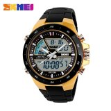 Skmei 1016 Pria Watch Men Analog Digital Led Olahraga Watch Tahan Air Fashion Kasual Quartz Watch Emas Intl Tiongkok
