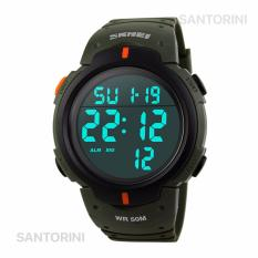 Jual Skmei 1068 Jam Tangan Pria Fashion Casual Waterproof Led Digital Sport Men Watch Green