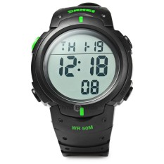 Skmei 1068 Multifunctional LED Military Watch Alarm Stopwatch Water Resistant - intl