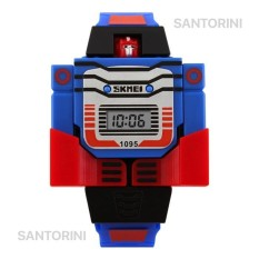 Skmei 1095 Jam Tangan Transformer Mainan Anak Fashion Waterproof Quartz Digital Men Lady Kid Watch - BLUE