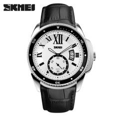Jual Skmei 1135 Pria Olahraga Watches Fashion Kulit Asli Klasik Elegan Bisnis Watch 30 M Tahan Air Arloji Silver Putih Intl Baru