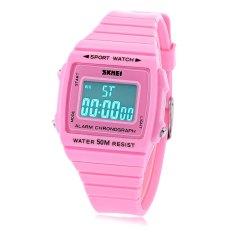 Beli Skmei 1136 Unisex Sport Digital Led Watch 50 M Tahan Air Alarm Luminous Date Display Rubber Band Jam Tangan Pink Skmei