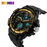Spesifikasi Skmei 1148 Digital Pria Olahraga Outdoor Pu Strap Jam Tangan Tahan Air Dual Layar Jam Tangan Emas Terbaru