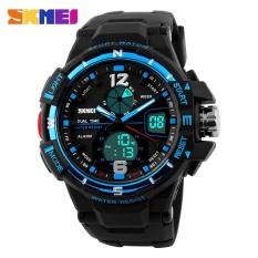 Spek Skmei 1148 Digital Pria Olahraga Outdoor Pu Strap Jam Tangan Tahan Air Dual Layar Jam Tangan Biru Tiongkok