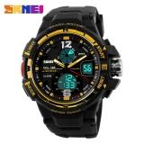 Harga Skmei 1148 Digital Pria Olahraga Outdoor Pu Strap Jam Tangan Tahan Air Dual Layar Jam Tangan Emas Intl Baru Murah