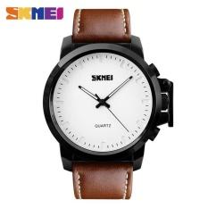 Toko Skmei 1208 Pria Fashion Big Dial Quartz Watches Silikon Tali 30 M Tahan Air Jam Tangan Coklat Putih Terlengkap Tiongkok