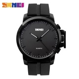 Diskon Skmei 1208 Pria Fashion Big Dial Quartz Watches Silikon Tali 30 M Tahan Air Arloji Hitam