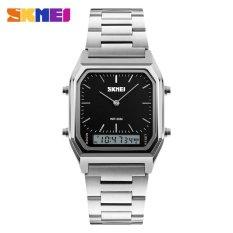 Miliki Segera Skmei 1220 Pria Fashion Sport Quartz Watches Kasual Stainless Steel Strap Chronograph Tahan Air Watch Hitam Intl