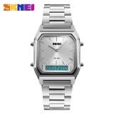 Spesifikasi Skmei 1220 Pria Quartz Digital Sport Wristwatch Fashion Bisnis Dual Time Jam Tangan Lampu Belakang Tahan Watch Relogio Masculin Murah