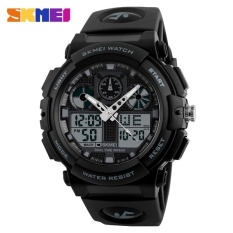 SKMEI 1270 Pria Double Tampilan Watch Olahraga Watch Digital Dual Time Meter Grey