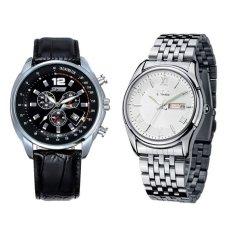 6852 Pria QUARTZ Kalender Leather Strap Watch (Penuh Hitam) + EYKI E-Kali W8470 Pria Stainless Steel Watch Silver Putih-Intl