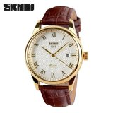 Jual Skmei 9058 Brand Luxury Male Quartz Watch Fashion Casual Watches 30M Waterproof Leather Strap Wristwatches White Brown Belt Intl Skmei Murah