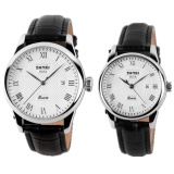 Tips Beli Skmei 9058 Quartz Analog Roman Numeral Stainless Steel Case Classic Business Casual Wateroof Couple Wristwatch Black Couple Intl Yang Bagus