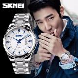 Toko Skmei 9069 Pria Bisnis Quartz Watch Men Full Steel Jam Tangan Selam 30 M Jam Tangan Silver Blue Termurah Di Tiongkok