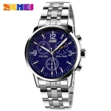 Jual Skmei 9070 Pria Quartz Fashion Watches Tahan Air Bisnis Watch Penuh Steel Band Watch Blue Skmei Di Tiongkok