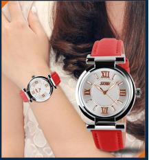 Spesifikasi Skmei 9075 Fahsion Wanita S Kulit Jam Tangan Quartz Watch Tahan Air Digital Arloji Merah Intl Paling Bagus