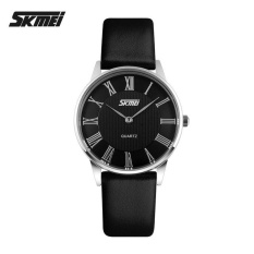 Diskon Produk Skmei 9092 Women S Fashion Ultrathin Quartz Watches Leather Strap Casual Lovers Watches Black Black Intl