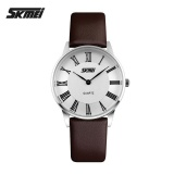 Jual Beli Skmei 9092 Wanita S Fashion Ultrathin Quartz Watches Leather Strap Kasual Lovers Watches Brown Putih Intl Di Tiongkok