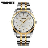 Beli Skmei 9099 Pria Jam Tangan Full Stainless Steel Olahraga Fashion Tahan Air Bisnis Watch Putih Baru