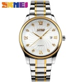 Diskon Skmei 9101 Pria Bisnis Kalender Casual Stainless Steel Wrist Jam Kuarsa Putih Internasional Skmei Tiongkok