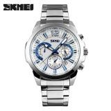 Perbandingan Harga Skmei 9108 Business Watch Men Quartz Chronograph Date Stainless Steel Wristwatch Silver White Intl Skmei Di Tiongkok